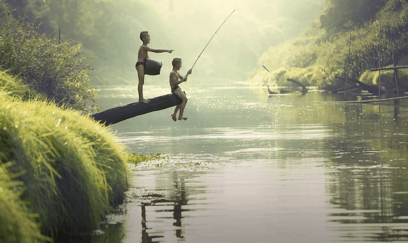fishing on a camping trip